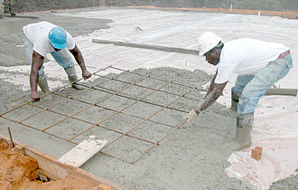 Building material - Concrete and metal rebar used to build a floor.