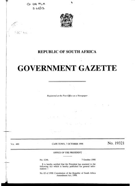File:Constitution of the Republic of South Africa Amendment Act 1998 from Government Gazette.djvu