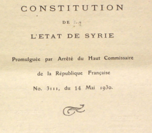 Syrian Republic (1930–58) - Constitution of the Syrian Republic, 14 May 1930