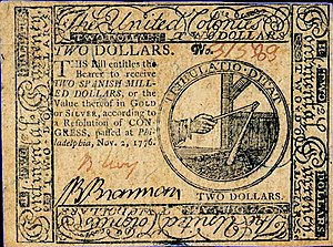 Continental Currency $2 banknote obverse (November 2, 1776).jpg