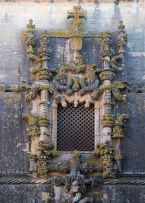 Manueline - The window of the Convent of Christ in Tomar is a well-known example of Manueline style