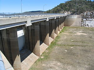 Copeton Dam - Copeton Dam spillway, from the northern side looking west.