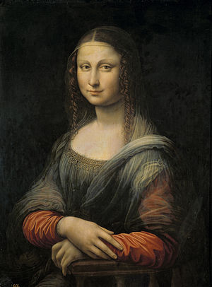 Mona Lisa (Prado's version) - The Prado's Mona Lisa before its restoration, with the black repaint of the landscape background.