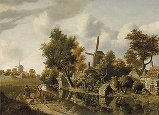 Landscape with Houses and Windmills on the Water