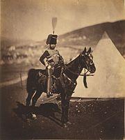 Cornet Henry Wilkin, 11th Hussars, British Army. Photo by Roger Fenton.