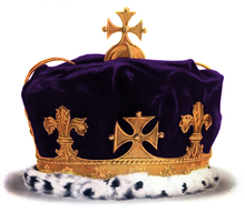 Austere golden coronet with one arch dipped in the centre