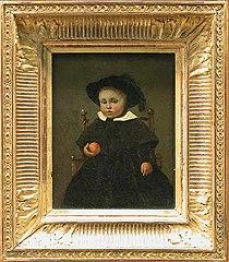 Le Peintre Adolphe Desbrochers, enfant, tenant une orange