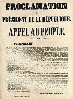 Coup d'État du 2 décembre 1851 - Proclamation du président de la République - Appel au peuple