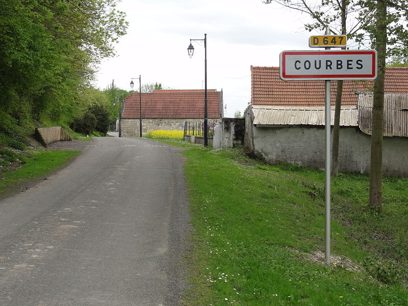 Courbes (Aisne) city limit sign