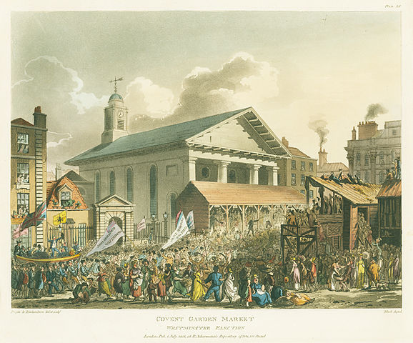 Covent Garden Market, Westminster Election by Rowlandson