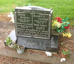 Harvey and Jeannette Crewe - Photograph of the grave of Harvey and Jeanette Crewe, Tuakau Cemetery, Waikato, New Zealand. October 2013. Note Jeannette's name is misspelt as Jeanette.