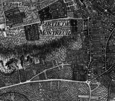 Montreuil et la Croix de Chavaux sur le Plan de Roussel en 1730