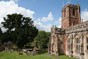 Quantock Greenway - Image: Crowcombe church and cross