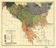 Old, multicolored map of southeastern Europe