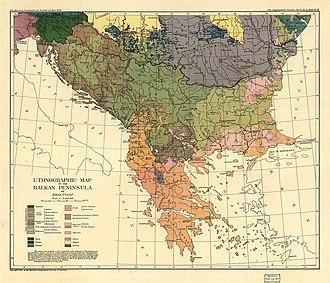 Jovan Cvijić - Ethnographic map of the Balkans, co-authored by Cvijić
