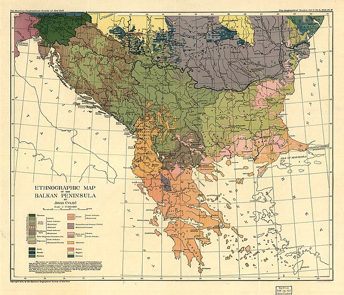 Датотека:Cvijic, Jovan - Breisemeister, William A. - Carte ethnographique de la Péninsule balkanique (pd).jpg