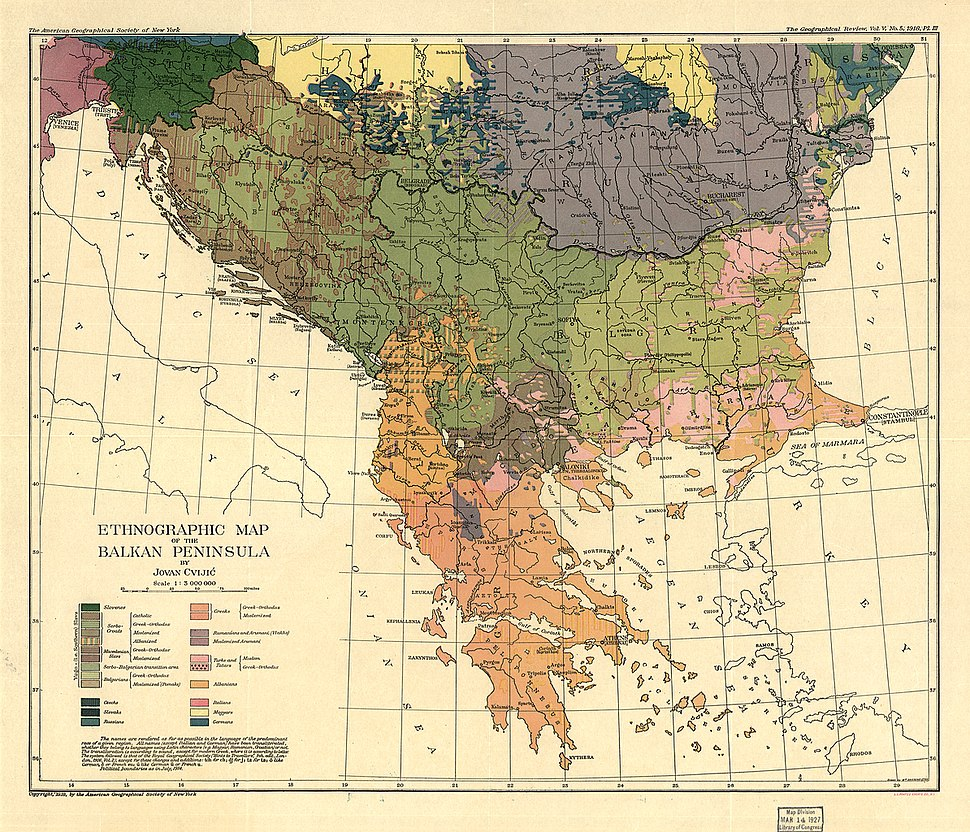 Cvijic, Jovan - Breisemeister, William A. - Carte ethnographique de la Péninsule balkanique (pd)