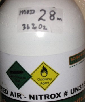 Nitrox - Cylinder showing Nitrox band and sticker marked with MOD and O2%