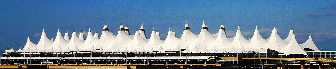 The tented roof of Denver International Airport was designed to resemble the snow-capped Rocky Mountains.