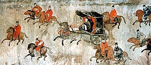 Red Eyebrows - A mural showing chariots and cavalry, from the Dahuting Tomb (Chinese: 打虎亭汉墓, Pinyin: Dahuting Han mu) of the late Eastern Han Dynasty (25-220 AD), located in Zhengzhou, Henan province, China