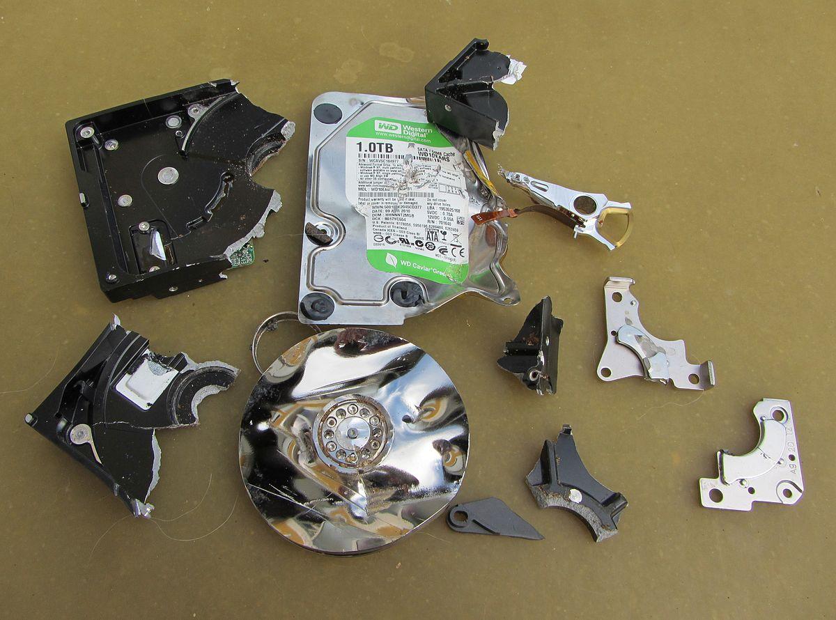Damaged Hard disk drive for data protection .JPG
