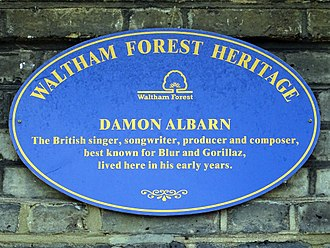 Damon Albarn - Commemorative plaque at 21 Fillebrook Road Leytonstone, East London where Albarn was brought up