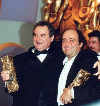 24th César Awards - Daniel Prévost (left), Best Supporting Actor winner and Jacques Villeret, Best Actor winner