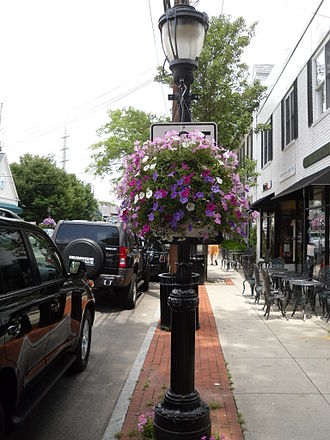 Darien, Connecticut - Hanging floral decorations adorn the main street of Darien