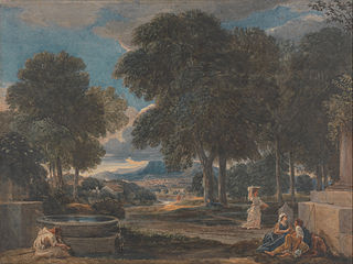 Landscape with a Man Washing His Feet at a Fountain, after Poussin