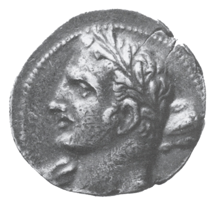 A Carthaginian coin possibly depicting Hannibal as Hercules (i.e. Heracles) Dc-hannibal-coin.png