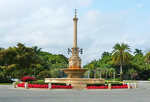 Traffic circle - DeSoto Fountain sits in the center of a traffic circle in the City of Coral Gables, Florida. The arterial, DeSoto Boulevard, has unrestricted right of way, while the intersecting streets are controlled by stop signs.