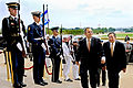 Defense.gov News Photo 110728-D-WQ296-080 - Secretary of Defense Leon E. Panetta right escorts Israeli Defense Minister Ehud Barak through an honor cordon and into the Pentagon on July 28.jpg