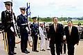 Defense.gov News Photo 110728-D-WQ296-080 - Secretary of Defense Leon E. Panetta right escorts Israeli Defense Minister Ehud Barak through an honor cordon and into the Pentagon on July 28.jpg