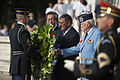 Defense.gov News Photo 120727-D-BW835-140 - Secretary of Defense Leon E. Panetta, center, is flanked by South Korean Ambassador Choi-Young jin, left, and James Ferris, right, president of the Korean War Veterans As.jpg