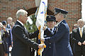 Defense Secretary Chuck Hagel passes the command flag to Air Force Gen. Paul J. Selva, the incoming commander of U.S. Transportation Command, during the change-of-command ceremony on Scott Air Force Base, Ill 140505-D-NI589-764c.jpg