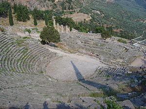 the theater of Delphi, from above