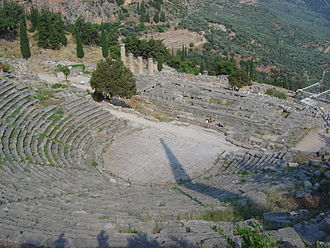 Theater (structure) - The ancient theater at Delphi, Greece