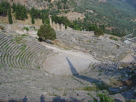 The theatre at Delphi (as viewed near the top seats) Delphi amphitheater from above dsc06297.jpg