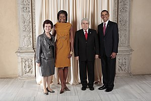 Demetris Christofias - Cyprus President Dimitris Christofias and Cyprus first lady Elsie Chiratou with U.S. President Barack Obama and Michelle Obama (2009)