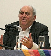 Denis Goldberg speaking at the launch of the Edinburgh World Justice Festival, 12 October 2013.