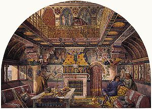Axel Haig - Haig's illustration for the Summer Smoking Room at Cardiff Castle