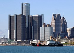 Detroit's downtown viewed from the Detroit River