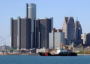 The Renaissance Center in downtown Detroit serves as the global headquarters of General Motors