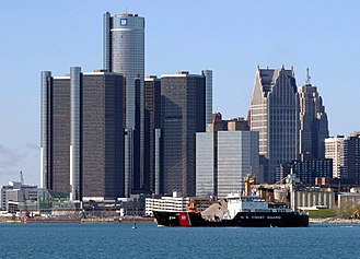 Detroit River - The Renaissance Center, located in downtown Detroit, is one of the most recognizable features along the shores of the Detroit River.