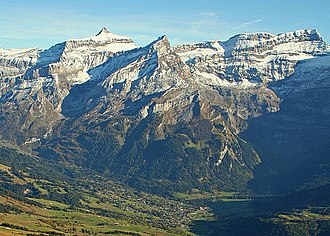 Diablerets - The Diablerets massif from the north including the Oldehore (left), the Scex Rouge (centre) and the main summit (right)
