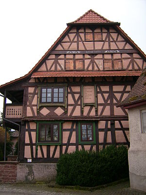 Sternenfels - Wooden framework house of 1674 in Diefenbach.