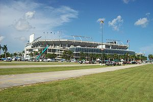 A view of Dolphin Stadium from the southwest s...