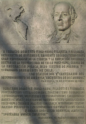 "Ignacy Domeyko - Plaque commemorating the ""distinguished son of the Polish nation and eminent citizen of Chile"""