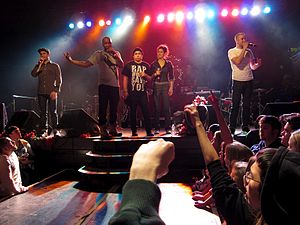 Doomtree - Doomtree performing at First Avenue in 2010 (from left to right: Cecil Otter, P.O.S, Mike Mictlan, Dessa, and Sims).