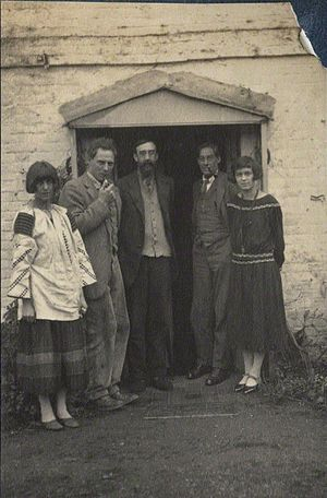 Dora Carrington - Lady Ottoline Morrell (1873-1938), vintage snapshot print/NPG Ax141540. Dora Carrington; Ralph Partridge; Lytton Strachey; Oliver Strachey; Frances Catherine Partridge (née Marshall), 1923